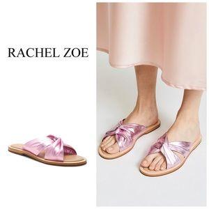 NEW Rachel Zoe Metallic Pink Leather Sandals Slide